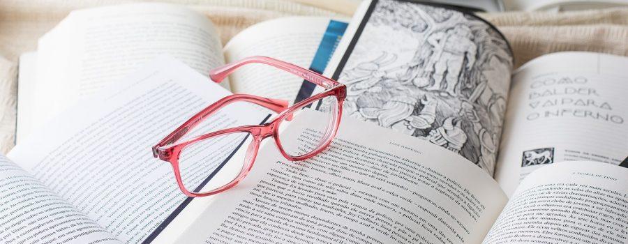 glasses, reading, book